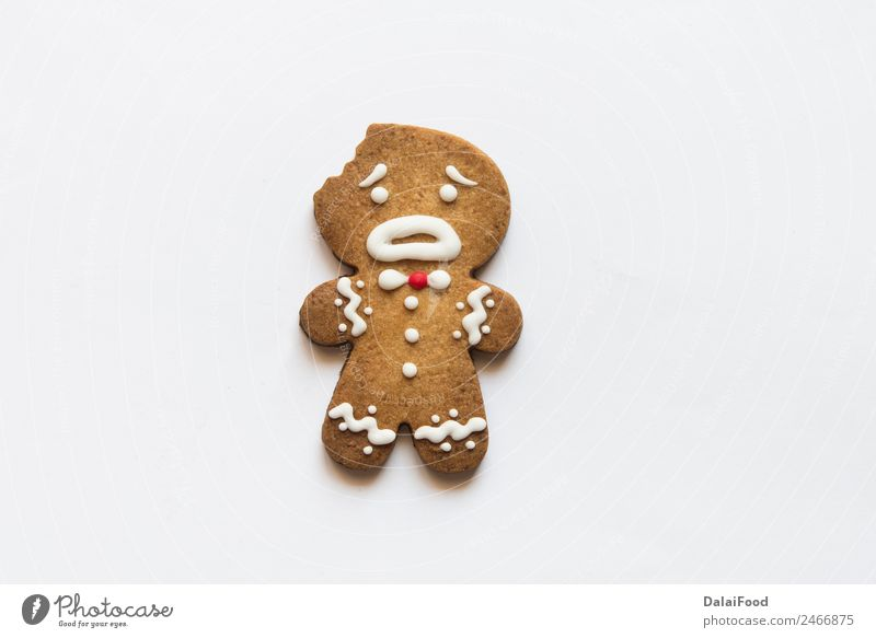 Cookies ginger man Child White Joy Winter Happy Brown Decoration Culture Gift Herbs and spices Delicious Tradition Dessert Bread Craft (trade) Set