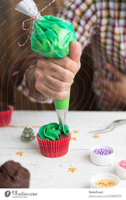 Making cupcake for christmas time Christmas & Advent Green White Tree Red Decoration Vantage point Gift Card Frost Dessert Home Horizontal Festive Cupcake
