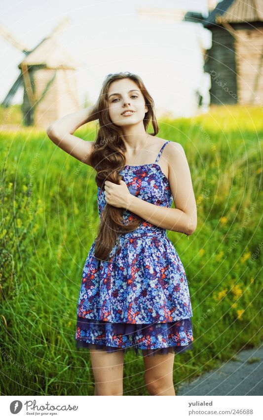 Beautiful young woman Hair and hairstyles Skin Summer Summer vacation Arm 1 Human being Horizon Beautiful weather Agricultural crop Meadow Field Emotions Moody