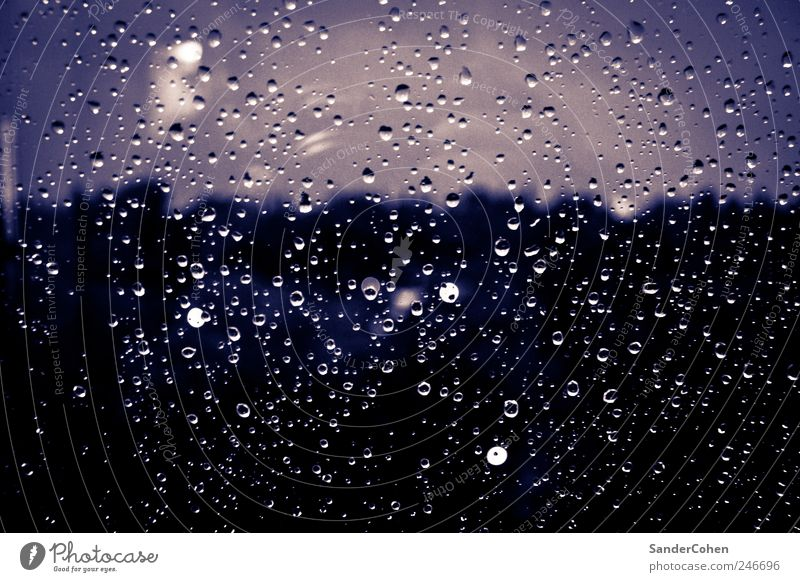 Weather to stay in Water Drops of water Sky Bad weather Rain Boredom Grief Frustration Cold Colour photo Interior shot Experimental Copy Space bottom Evening
