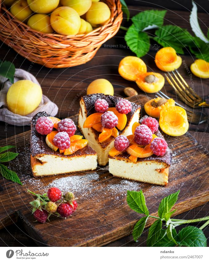 cottage cheese pie with strawberries Cheese Fruit Cake Dessert Nutrition Fork Table Fresh Bright Delicious Brown Red White Colour Raspberry Apricot cheesecake