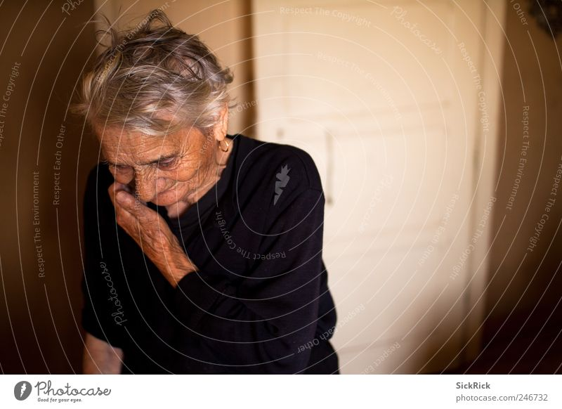 Human being Woman Old Loneliness Adults Senior citizen Emotions Think Brown Authentic Meditative 60 years and older Grandmother Fatigue Female senior Retirement