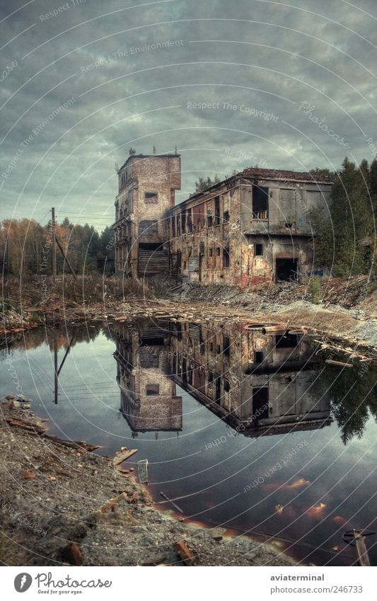 Old industrial building Old Water Tree Clouds Dark Architecture Gray Sadness Dirty Poverty Industry Factory Brick Storm Bad weather Industrial plant