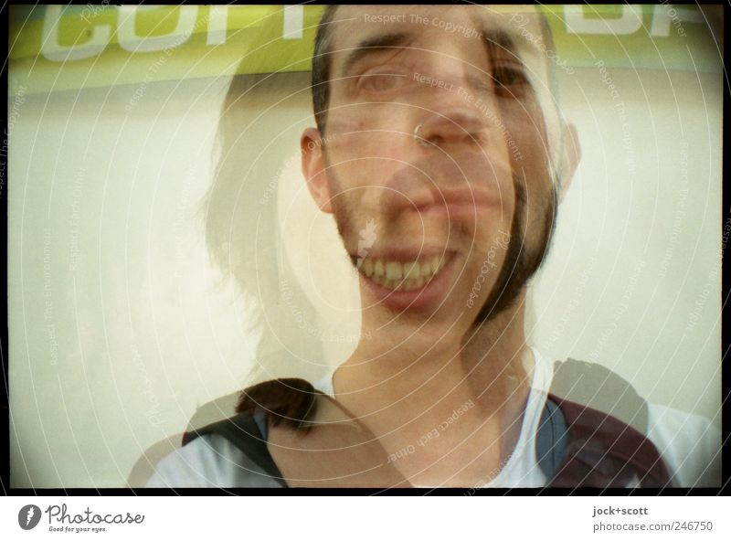 A portrait as a mixed double Joy Woman Adults Man Face 2 Human being Downtown Berlin Characters Think smile Laughter Together Emotions Sympathy Friendship