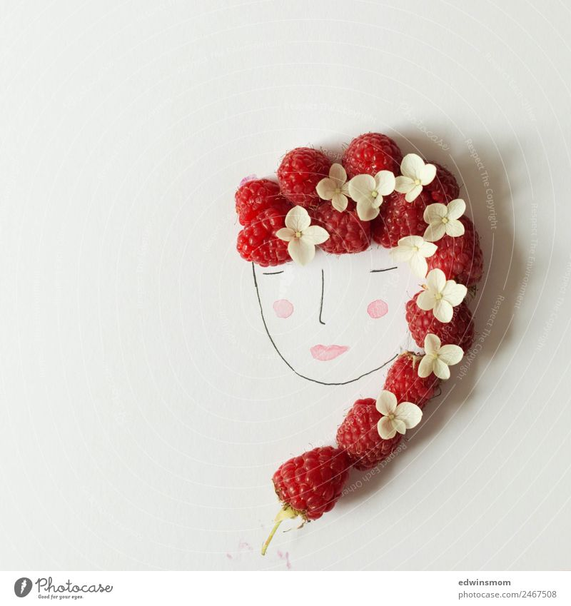 raspberries Fruit Raspberry Berries Leisure and hobbies Handicraft Draw Feminine Young woman Youth (Young adults) 1 Human being Summer Accessory Red-haired