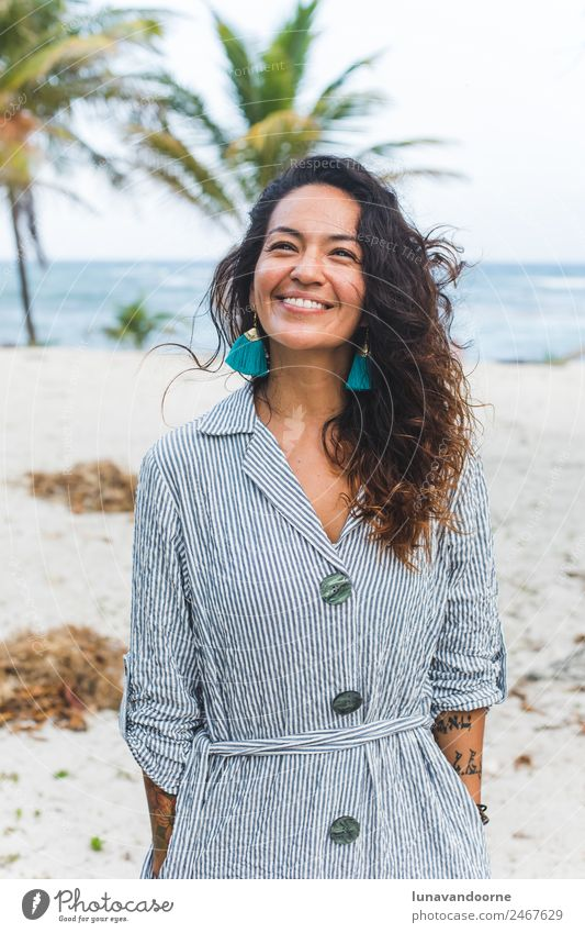 Mexican woman on the beach of Tulum Woman Human being Nature Vacation & Travel Summer Blue White Ocean Calm Joy Beach Adults Lifestyle Style Fashion Smiling