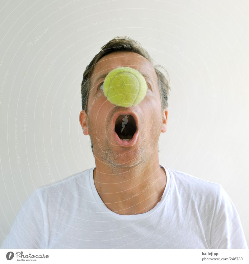 nasal tennis Ball sports Sportsperson Skin Head Hair and hairstyles Face Nose Mouth 1 Human being Tennis Clown Tennis ball Marvel Tennis player Colour photo