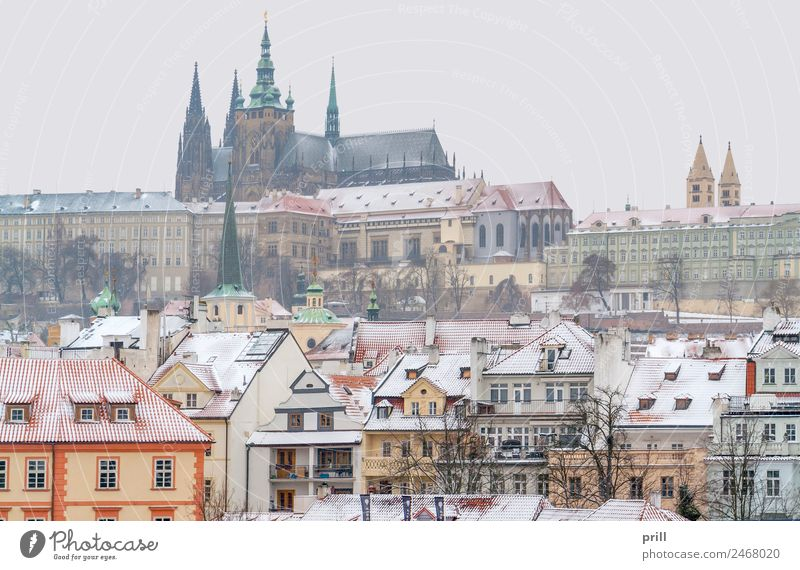 Prague at winter time Winter Snow House (Residential Structure) Culture Town Capital city Old town Castle Building Architecture Facade Historic Cold Tradition