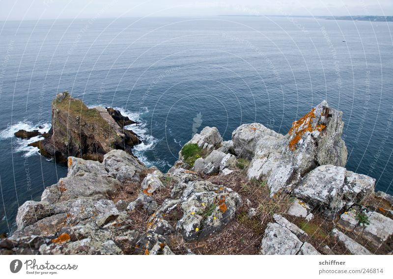 Anlaufal Landscape Rock Waves Coast Ocean Far-off places Cliff Brittany Horizon Atlantic Ocean Calm Height Wide angle Exterior shot Deserted Copy Space top