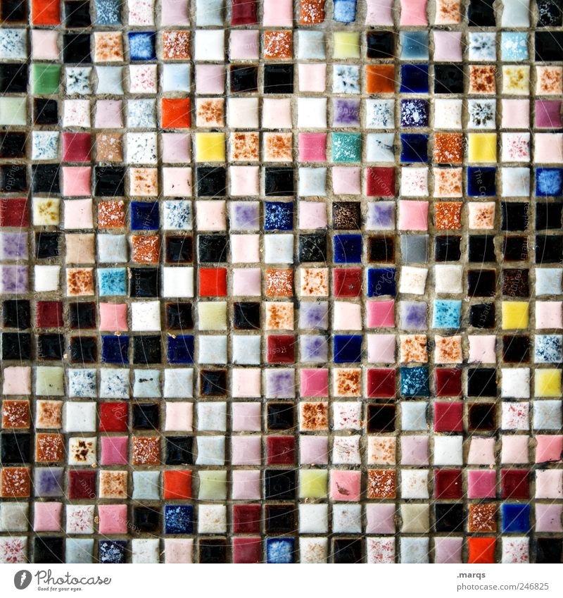 289 Design Wall (barrier) Wall (building) Mosaic Tile Uniqueness Many Multicoloured Chaos Colour Versatile Colour photo Detail Pattern Structures and shapes