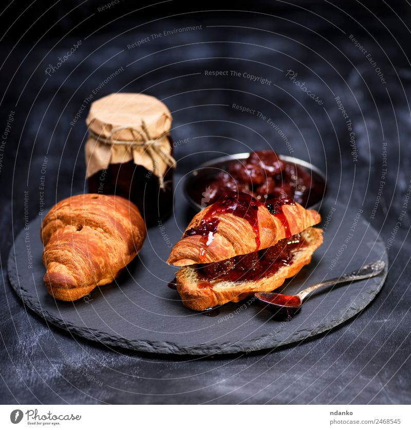 baked croissants with strawberry jam Bread Roll Croissant Dessert Jam Breakfast Spoon Table Eating Fresh Delicious Brown Tasty background french food sweet Meal