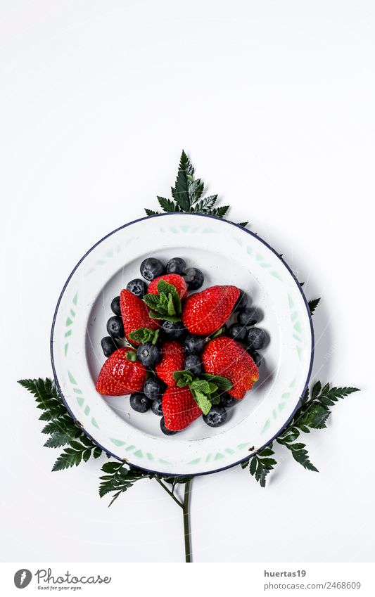 Mix of strawberries and blueberries Old Green Red Leaf Healthy Natural Style Food Group Copy Space Design Fruit Nutrition Fresh Table Delicious