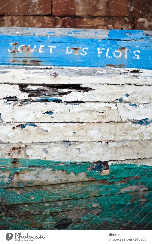 Play ball of the waves Navigation Fishing boat Watercraft Spar varnish Hull Wreck Old Broken Transience Varnish Flake off Characters Colour photo Exterior shot