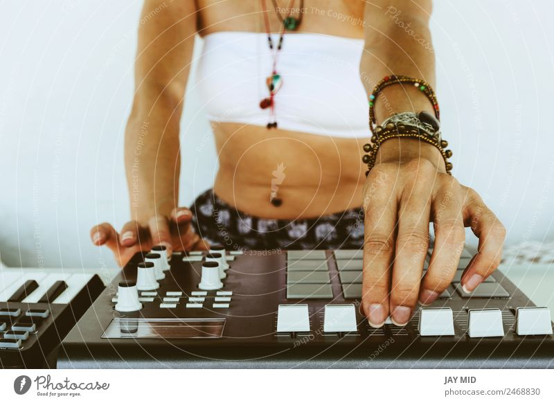 Hands woman DJ playing electronic music. mixing table Woman Summer Adults Lifestyle Feminine Freedom Technology Music Power Creativity Table Profession Spain