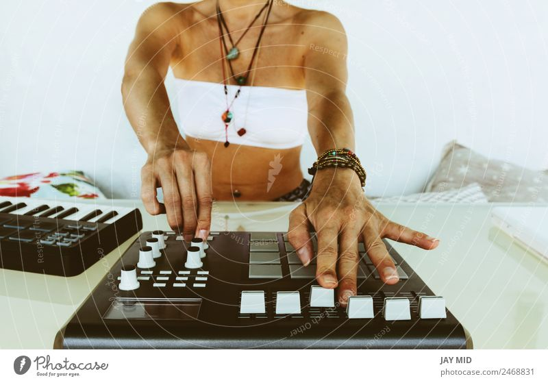 Hands woman DJ playing electronic music. mixing table Woman Summer Adults Lifestyle Emotions Feminine Technology Music Creativity Table Might Spain Inspiration