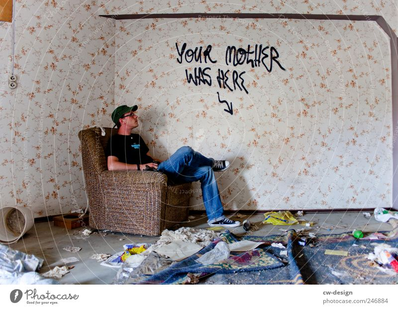 Human being Man Youth (Young adults) Loneliness Wall (building) Graffiti Wall (barrier) Adults Art Wait Dirty Sit Masculine Living or residing Trashy Ruin