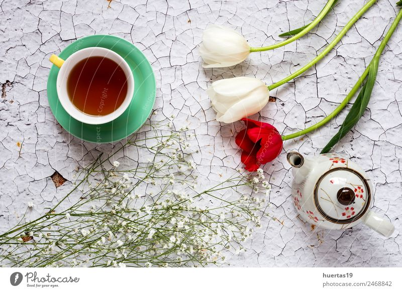 Cup of tea with Floral background Beverage Hot drink Tea Lifestyle Elegant Style Design Valentine's Day Nature Plant Flower Tulip Leaf Bouquet Natural Green