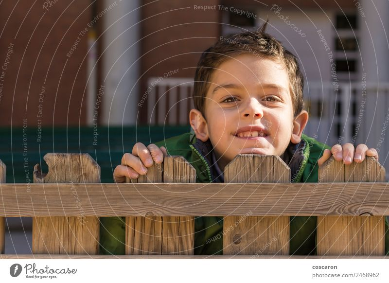 Cute handsome boy look over wooden fence with green coat Child Man White Hand Joy Face Adults Wood Boy (child) Small Playing Infancy Observe Curiosity