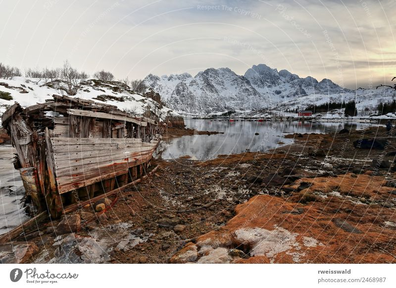 Shipwrecked boat. Sildpolltjonna-Sildpollnes-Lofoten-Norway.136 Sky Nature Vacation & Travel Old Blue Plant Beautiful Water Sun Landscape White Red