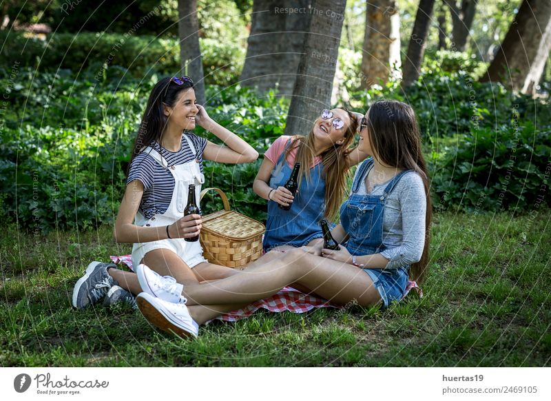Three Beautiful Young Women Feminine Young woman Youth (Young adults) Woman Adults Friendship Body 3 Human being 18 - 30 years Plant Beautiful weather Tree Park