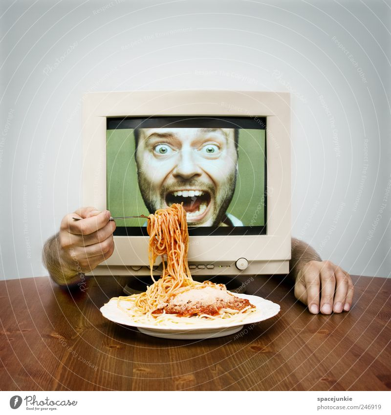 Human being Man Green Red Adults Nutrition Computer Funny Eating Masculine Crazy Exceptional Internet Telecommunications Plate To enjoy