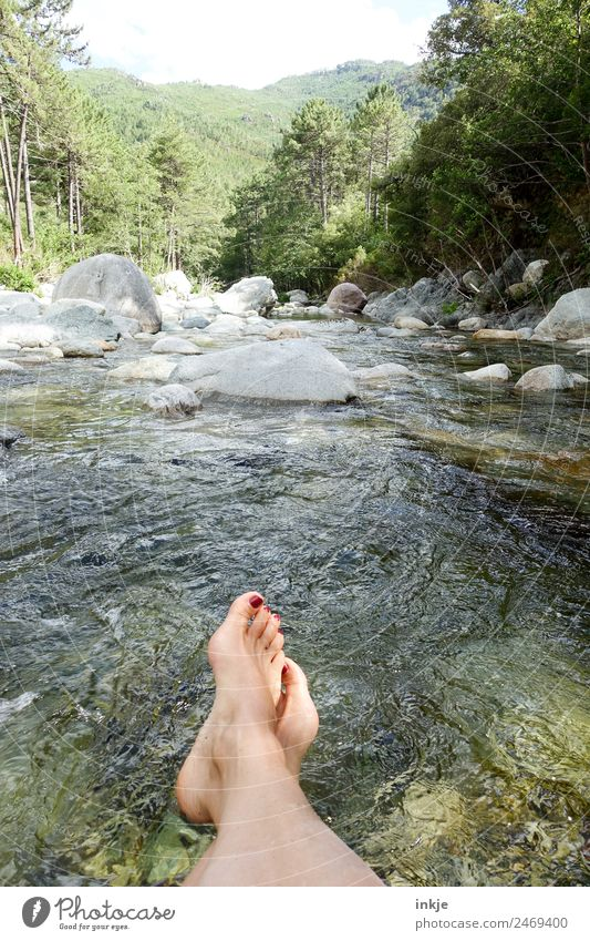Human being Nature Vacation & Travel Summer Water Landscape Relaxation Mountain Feet Trip Beautiful weather Break River Clarity River bank Barefoot