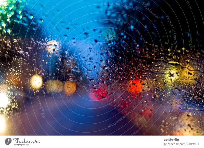 rain Evening Traffic light Movement Multicoloured Dark Fantasy Patch of colour Colour Play of colours Glittering Oncoming traffic Sky Heaven Background picture