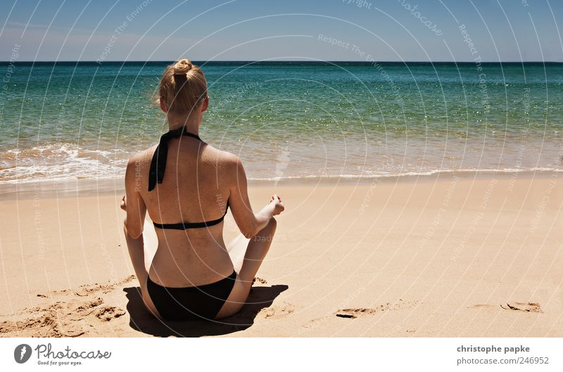 Human being Youth (Young adults) Vacation & Travel Beach Ocean Calm Loneliness Relaxation Feminine Eroticism Adults Waves Contentment Blonde Wellness Hot