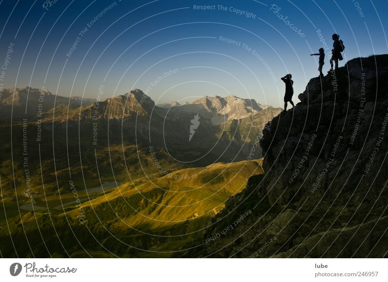 View from above Climbing Mountaineering Hiking 3 Human being Environment Nature Landscape Cloudless sky Summer Beautiful weather Rock Alps Peak Emotions