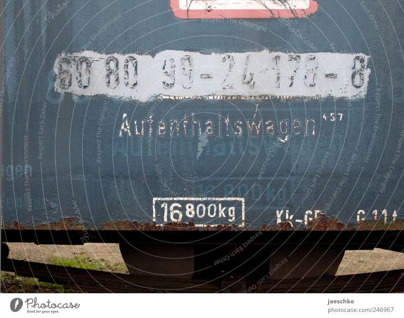 Pleasant stay Rail transport Train travel Railroad Passenger train Rust Characters Digits and numbers Signs and labeling Old Broken Vacation & Travel Decline