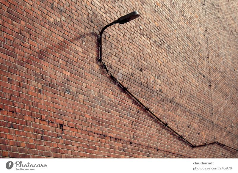 Long line House (Residential Structure) Building Wall (barrier) Wall (building) Red Brick Brick wall Brick facade Lamp Street lighting Lighting