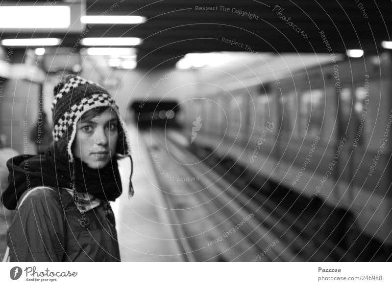 Human being Youth (Young adults) City Beautiful Face Feminine Adults Railroad tracks Underground Cap Train station Wanderlust Capital city Young woman