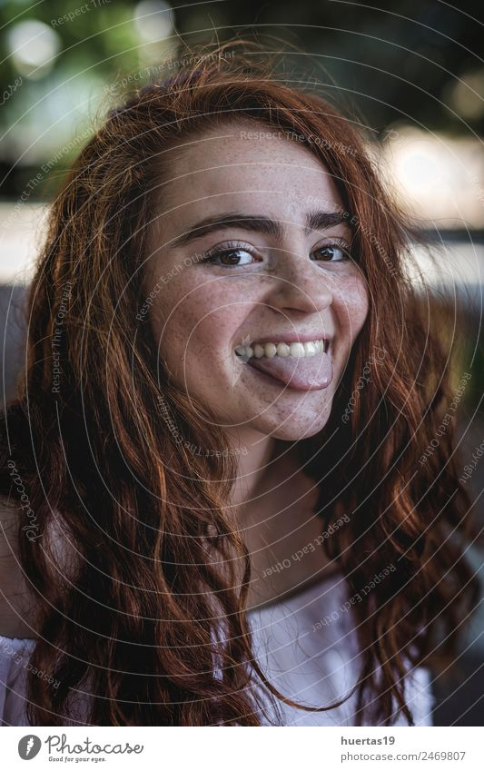 Outdoor portrait of young beautiful happy redhead girl Lifestyle Elegant Style Exotic Happy Beautiful Hair and hairstyles Human being Feminine Young woman