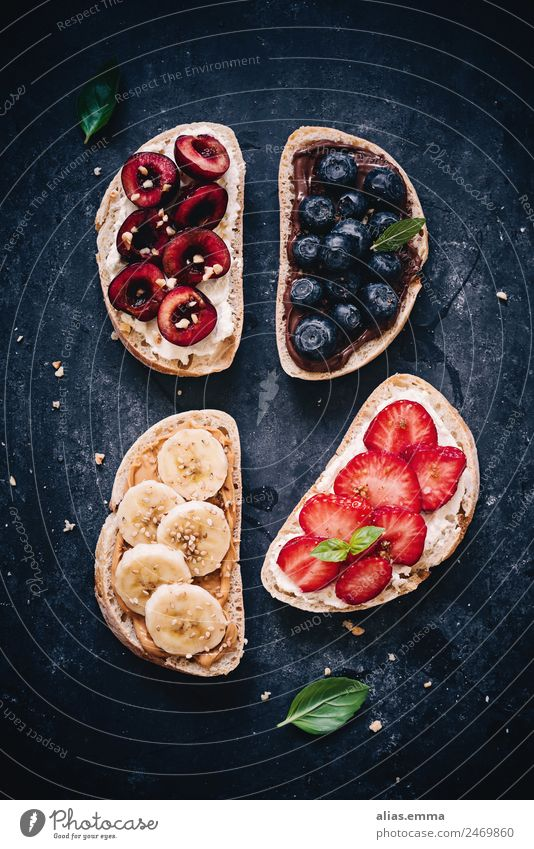 Fresh bread with sweet fruits - healthy breakfast Breakfast Healthy Healthy Eating Nutrition Bread Fruit Cherry Banana Strawberry Blueberry Chocolate Cream