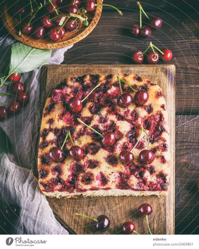 baked cake with cherries Fruit Cake Dessert Candy Bowl Wood Eating Fresh Delicious Above Brown Red Cherry Pie piece background Baking Bakery Berries Cut food