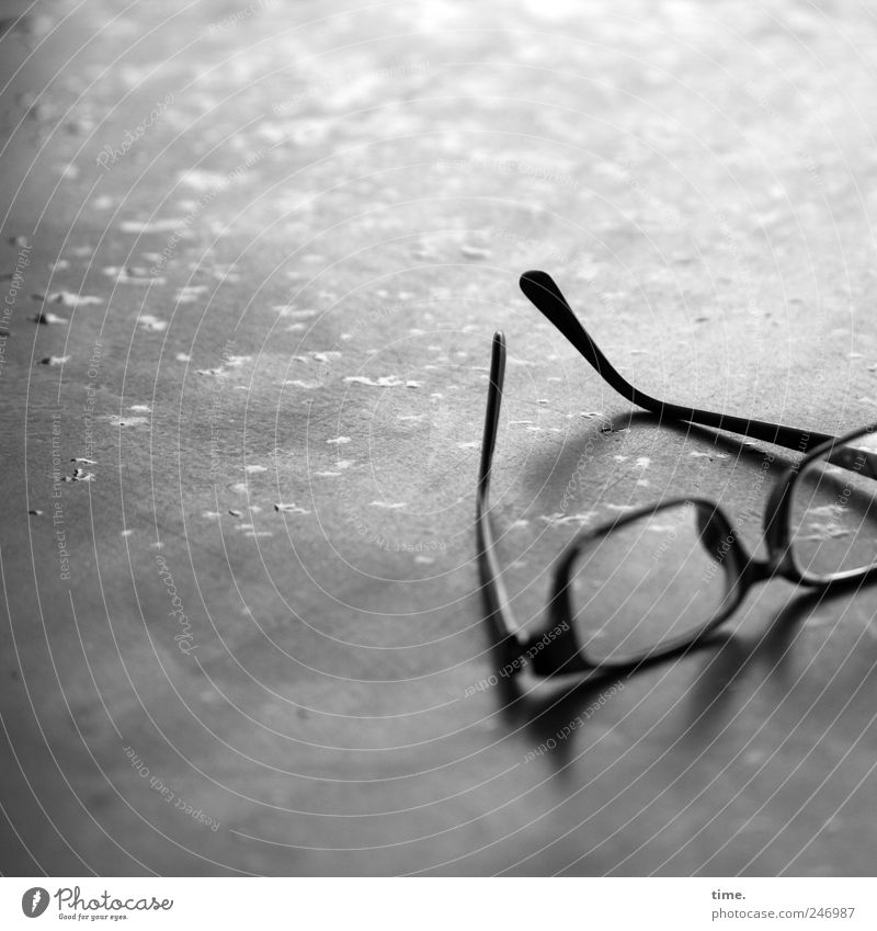 tired Table Drops of water Eyeglasses Lie Wet Spectacle frame eyeglass frame Hanger Damp cash desk nose bicycle eyewear fashion Tabletop Black & white photo