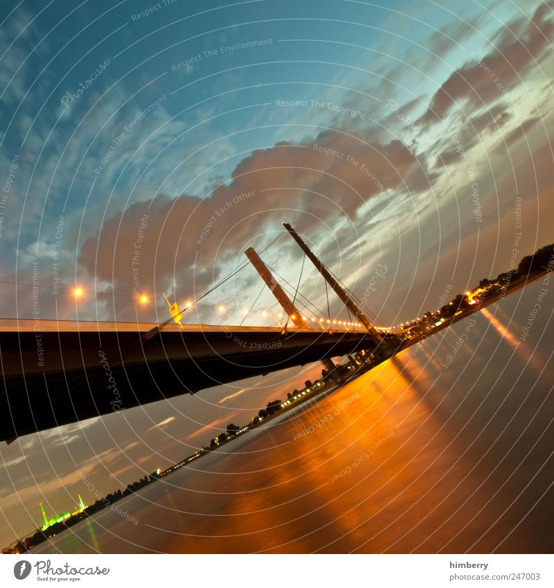 list Art Environment Sky Clouds Night sky Sunrise Sunset Sunlight Summer Climate Weather Beautiful weather Duesseldorf Bridge Manmade structures Building