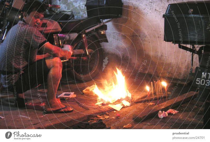 fire ritual Ritual Evening Man Blaze Street paper money superstition?