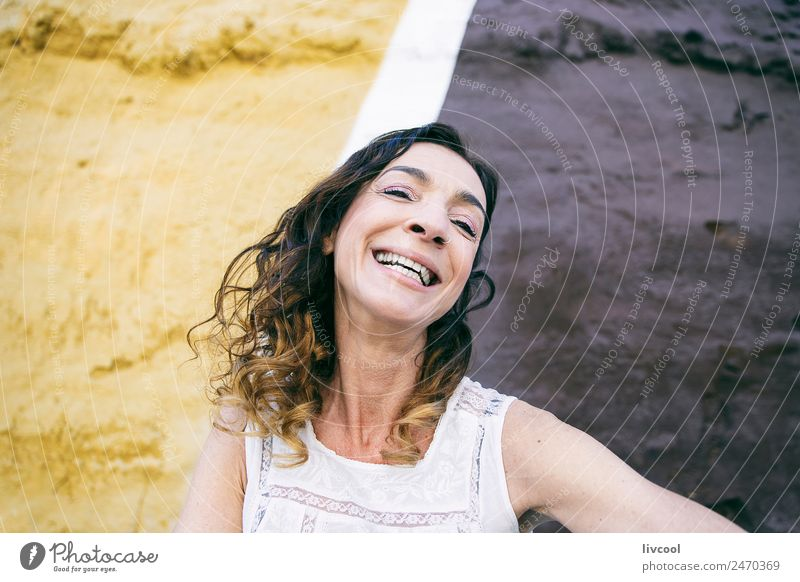 smiling woman, spain Lifestyle Happy Beautiful Face Relaxation Calm Human being Feminine Woman Adults Female senior 1 45 - 60 years Art Facade Street Tattoo