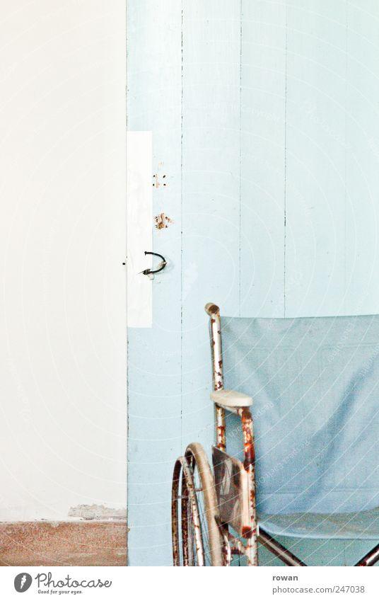 Old Blue Wall (building) Wall (barrier) Door Broken Gloomy Retro Derelict Rust Wheelchair