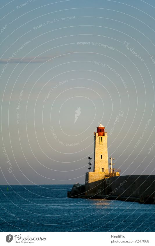 Sky Water Blue Ocean Yellow Coast Facade Transport Safety Beautiful weather Sailing Navigation Watchfulness France Lighthouse