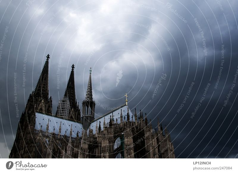 Clouds Religion and faith Germany Fear Church Europe Manmade structures Crucifix Belief Cologne Landmark Dome Tourist Attraction Bad weather Storm clouds