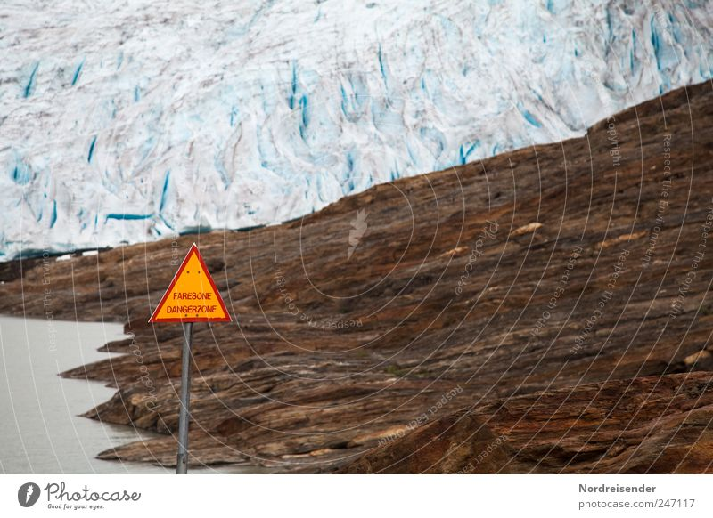 reference Nature Landscape Elements Climate Climate change Ice Frost Glacier Sign Signs and labeling Signage Warning sign Threat Gigantic Blue Brown Attentive