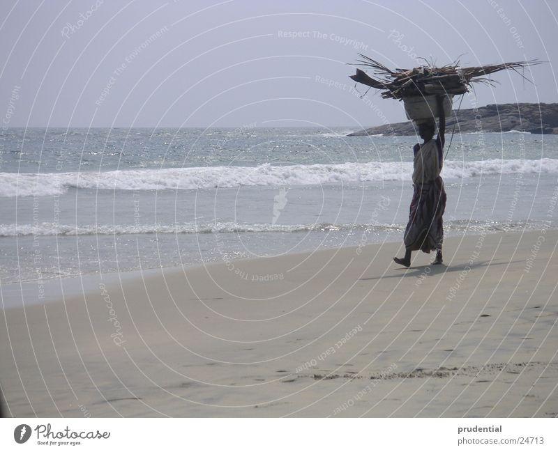 Woman Water Beach Sand Asia India Kerala