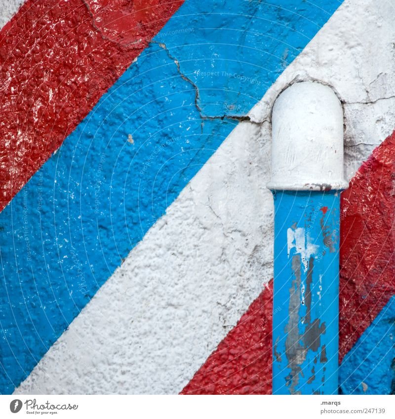 pipe Lifestyle Design Wall (barrier) Wall (building) Conduit Line Stripe Old Simple Blue Red White Colour France Netherlands Flag Colour photo Exterior shot