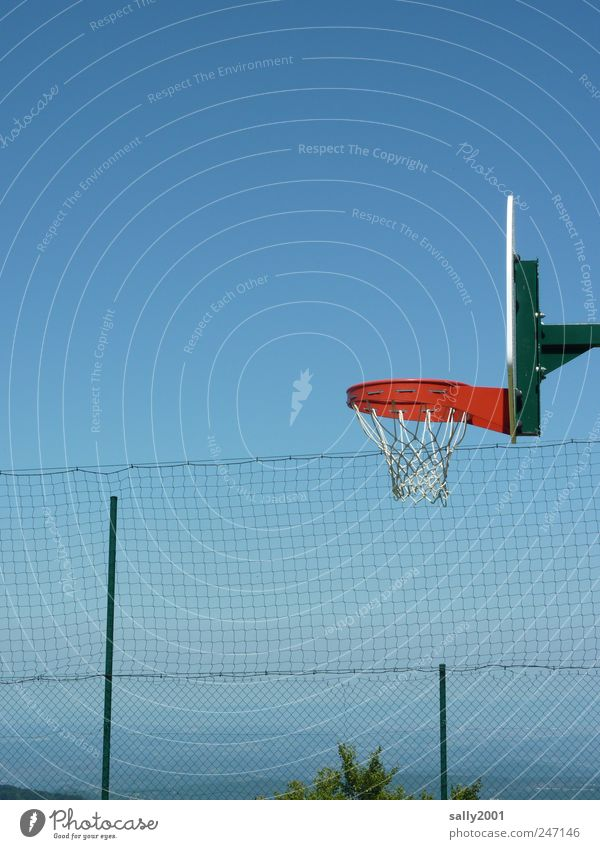 Basketball with a view Leisure and hobbies Freedom Summer Mountain Sports Ball sports Basketball basket Sky Cloudless sky Pyrenees Infinity Tall Red Relaxation