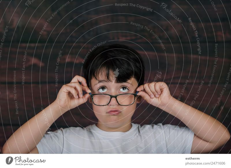 boy with glasses Lifestyle Education Child School Student Human being Masculine Toddler Infancy 8 - 13 years Eyeglasses Think Fitness Study Funny Curiosity