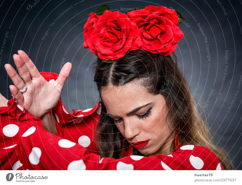 Portrait of young flamenco dancer Lifestyle Elegant Style Design Happy Beautiful Dance Feminine Young woman Youth (Young adults) Woman Adults 1 Human being