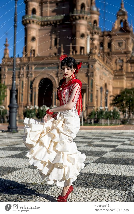 Young elegance flamenco dancer Elegant Happy Beautiful Dance Feminine Woman Adults Dancer Culture Flower Fashion Dress Passion Flamenco Spain spanish dancing
