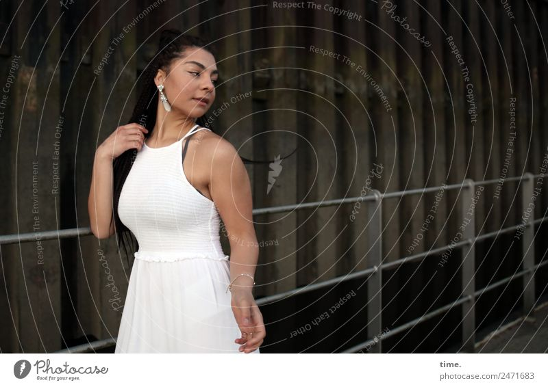 Nikoliya Feminine Woman Adults 1 Human being Wall (barrier) Wall (building) Bridge railing Harbour Dress Earring Brunette Long-haired Braids Observe Movement